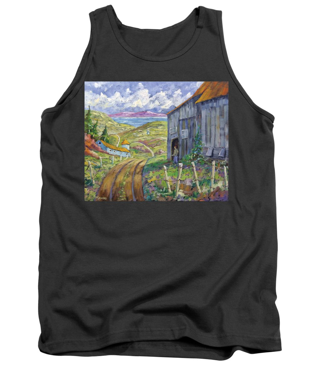 Art Tank Top featuring the painting Down To The Fjord by Richard T Pranke