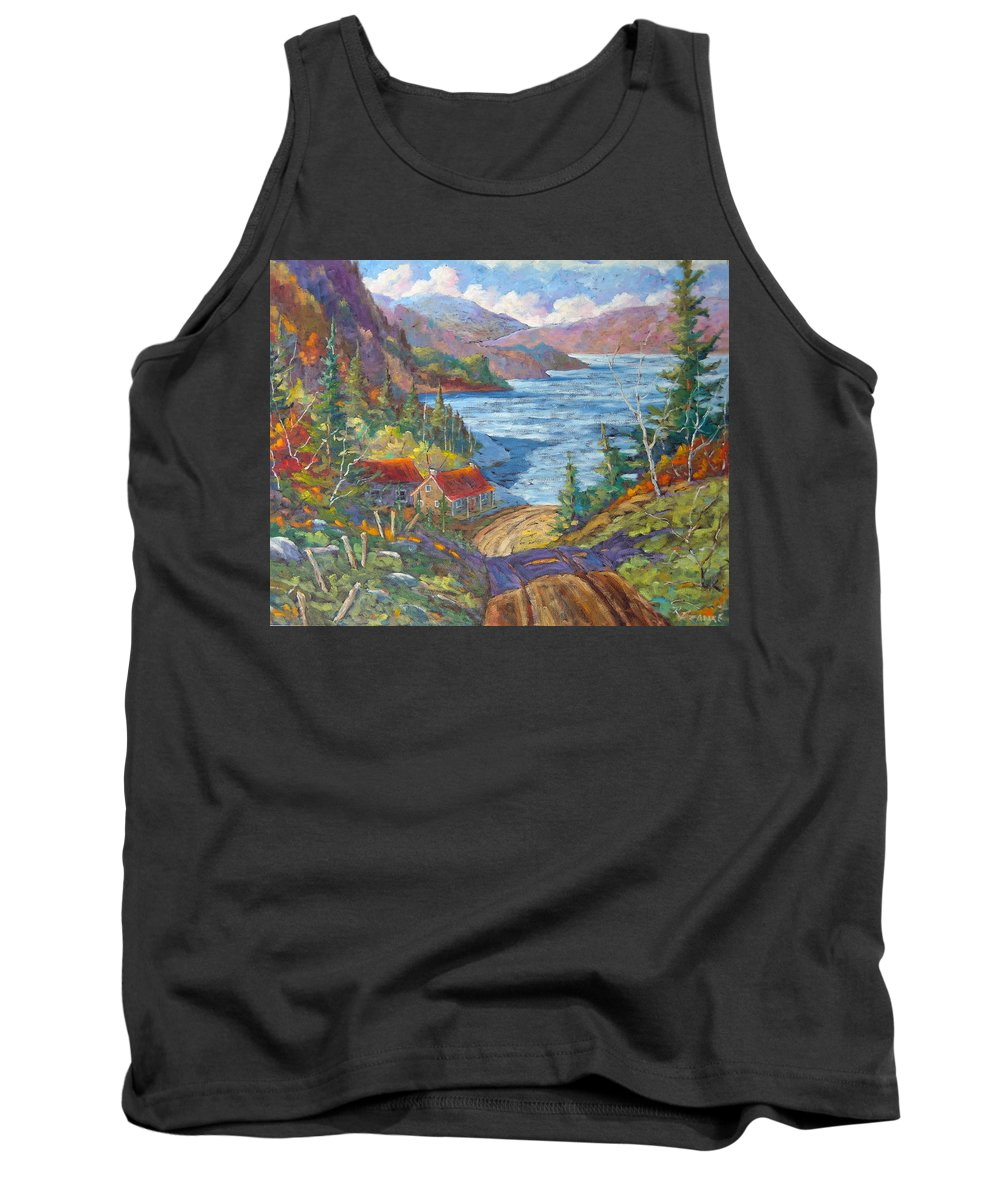 Landscape Tank Top featuring the painting Down To The Lake by Richard T Pranke