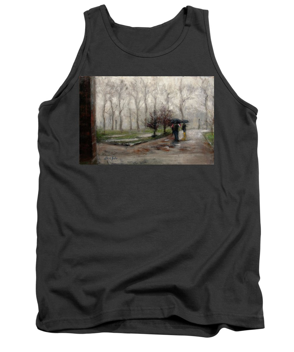 Rain Tank Top featuring the painting Downpour by Sarah Yuster