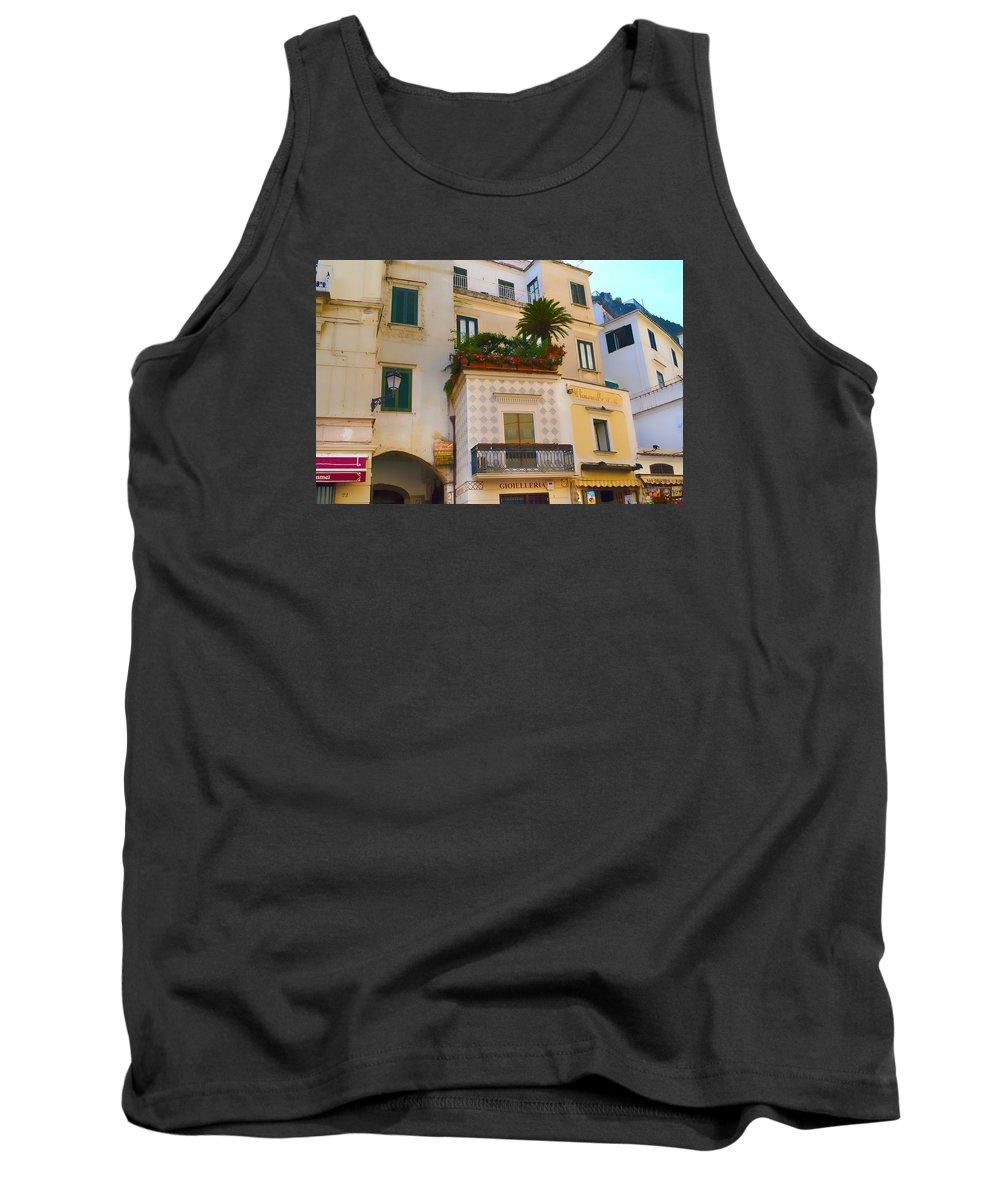 Amalfi Tank Top featuring the photograph Downtown Amalfi by Jeffrey Hamilton