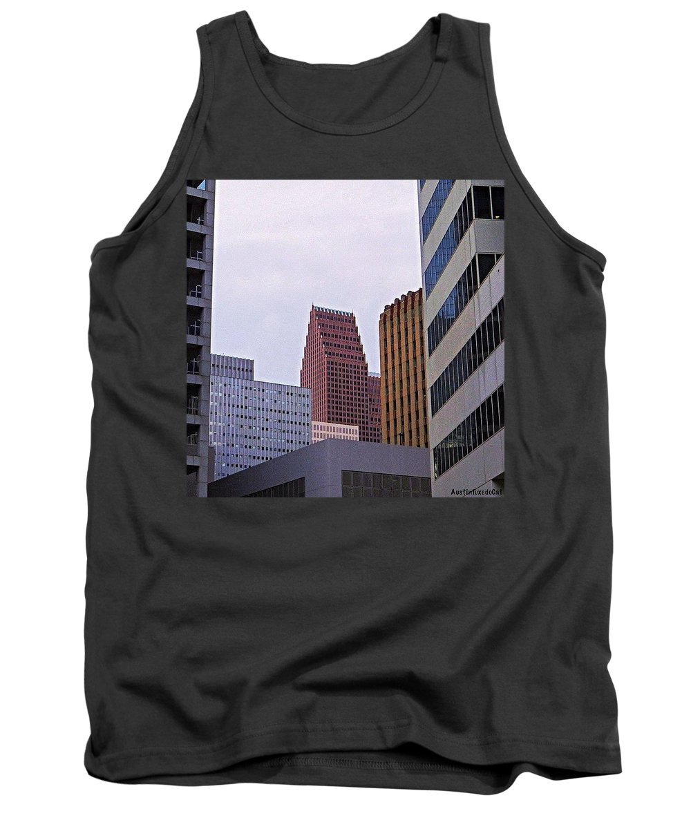 Houston Tank Top featuring the photograph #downtown #houston On A Gloomy Cold by Austin Tuxedo Cat