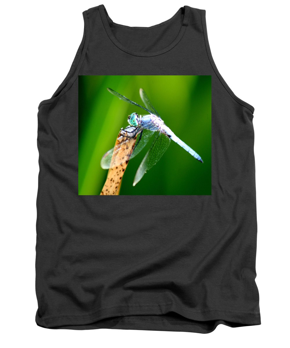 Dragonfly Tank Top featuring the photograph Dragonfly Blue by Chris Brannen