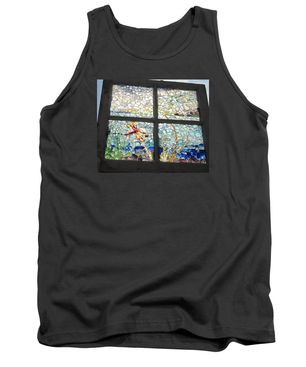 Sea Glass Tank Top featuring the glass art Dragonfly Dreams by Anne Marie Brown