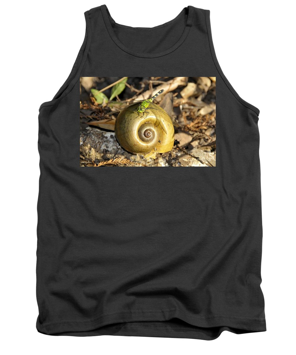 Dragonfly Tank Top featuring the photograph Dragonfly On Snail by David Lee Thompson