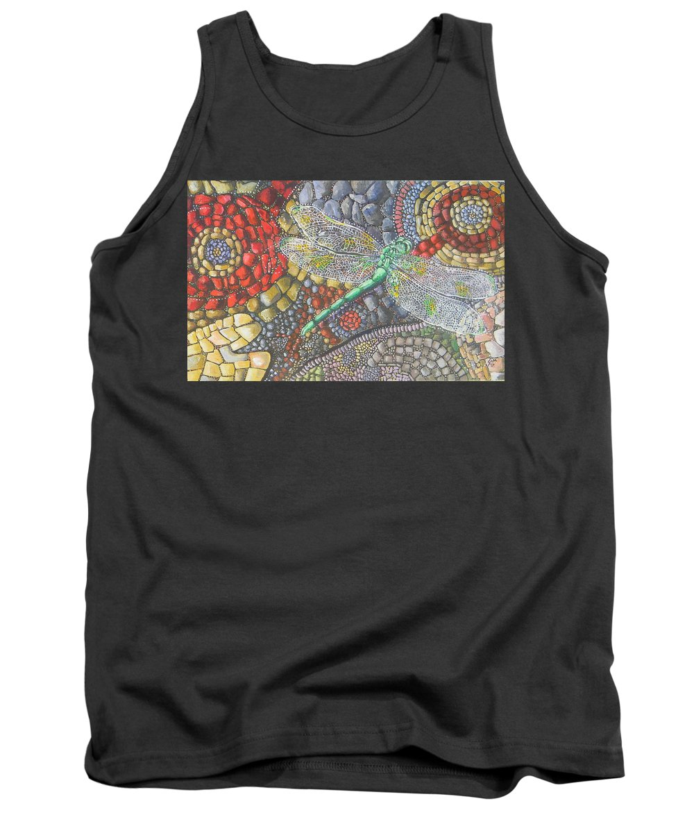 Caribbean Tank Top featuring the painting Dragonfly On Stone Path by Samantha Rochard
