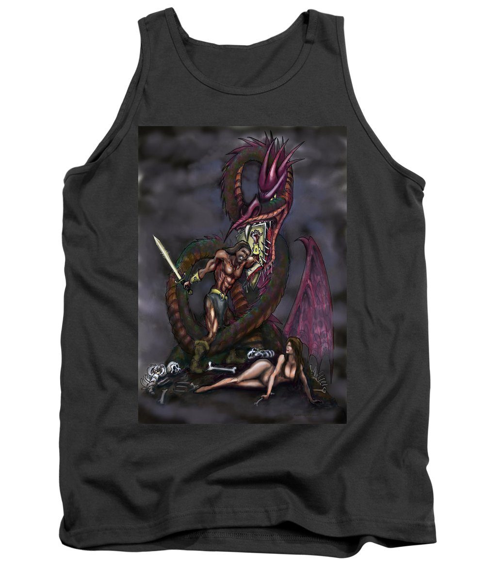 Dragon Tank Top featuring the painting Dragonslayer by Kevin Middleton
