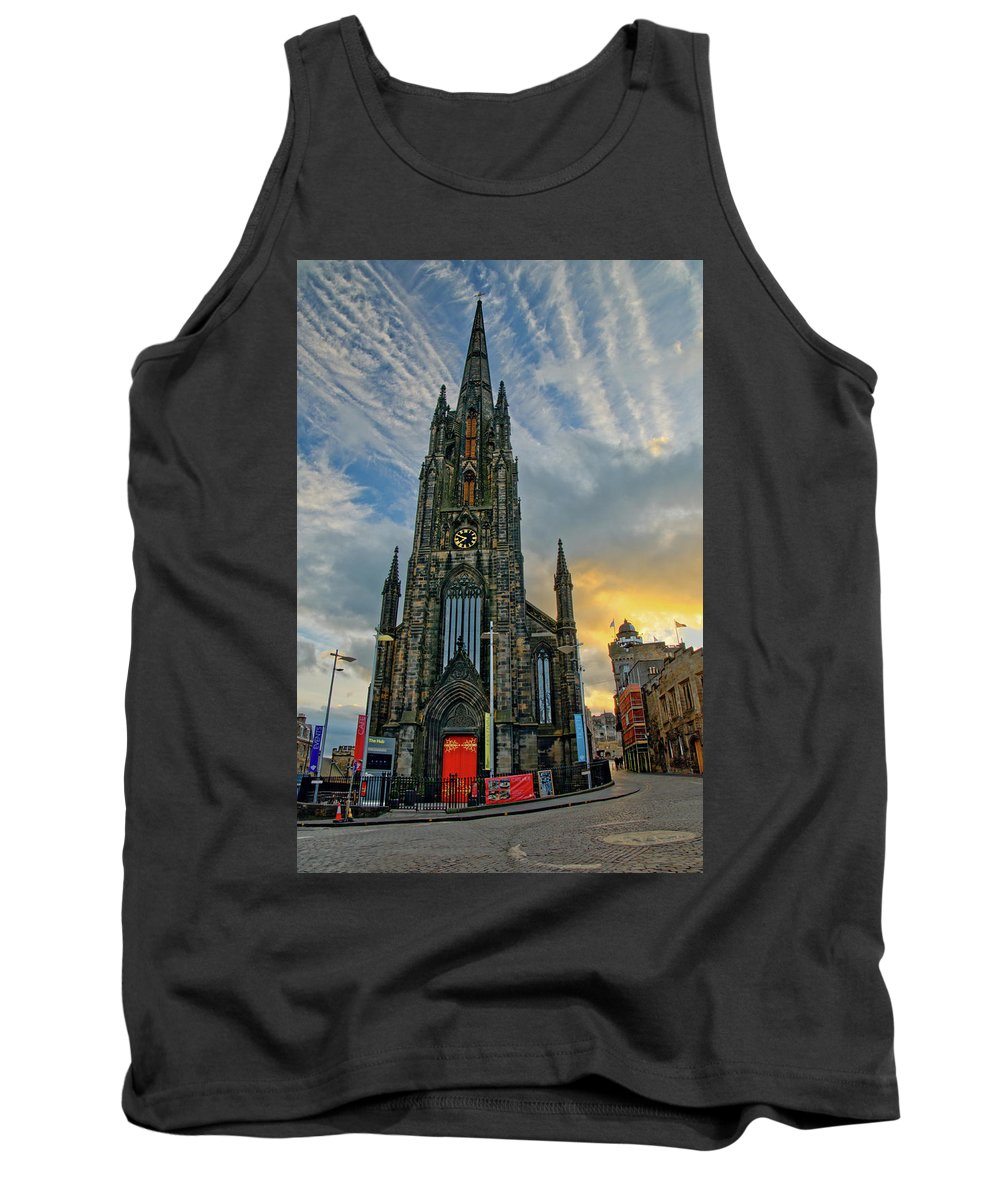 The Hub Tank Top featuring the photograph Dramatic Edinburgh Sunset At The Hub In Scotland by Ina Kratzsch