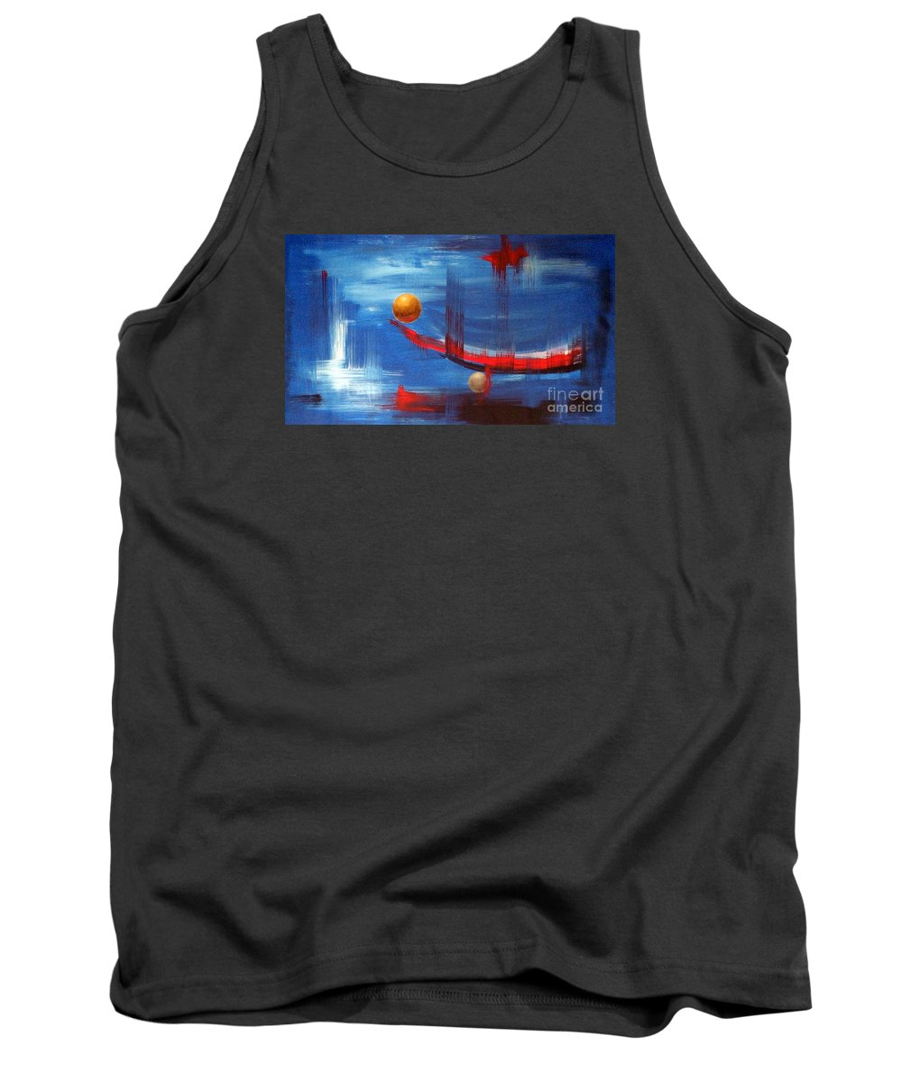 Abstract Art Tank Top featuring the painting Dream Ship by Arturas Slapsys