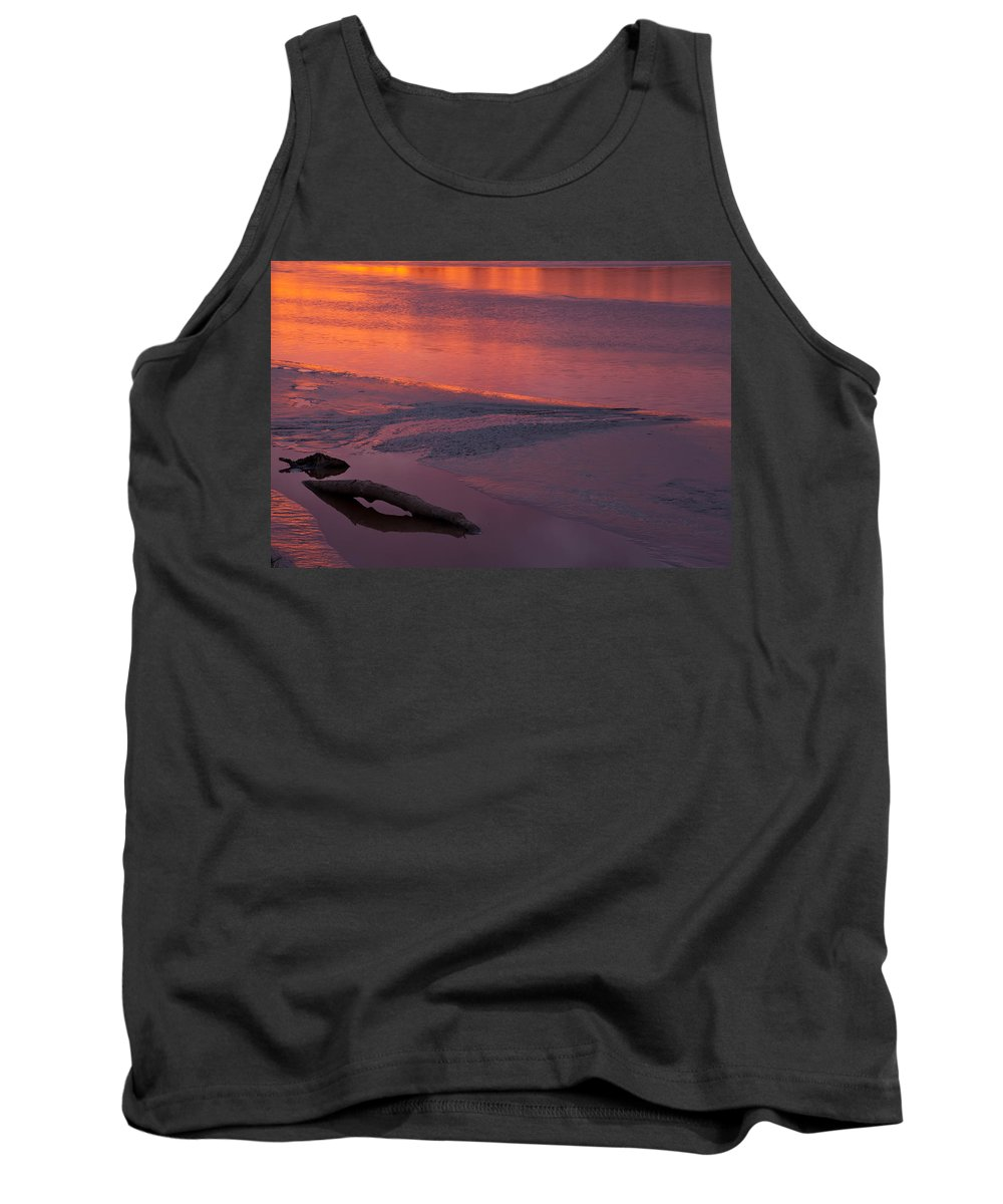 River Tank Top featuring the photograph Driftwood Sundown by Irwin Barrett
