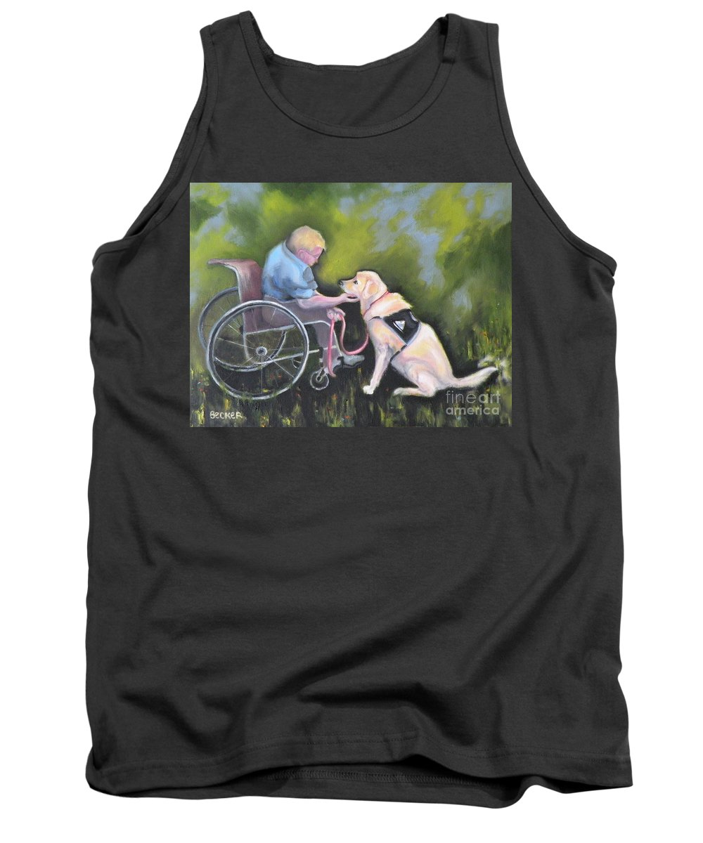 Dog Tank Top featuring the painting Duet by Susan A Becker