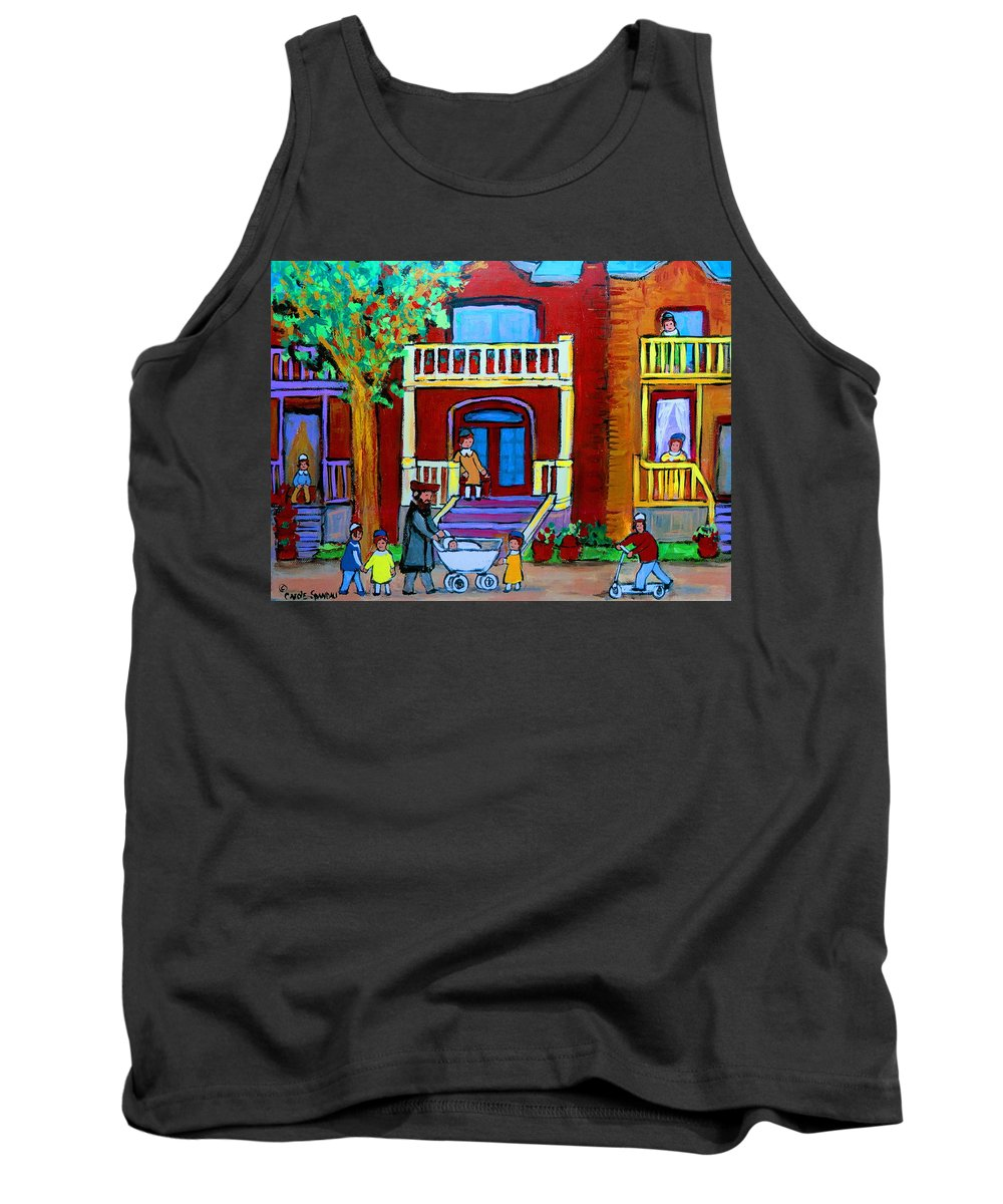 Judaica Tank Top featuring the painting Durocher Street Montreal by Carole Spandau