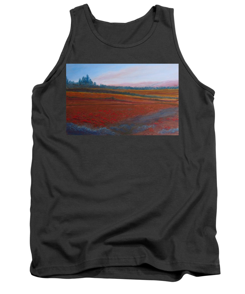 Dusk Tank Top featuring the painting Dusk Falls On The Pumice Field by Jenny Armitage