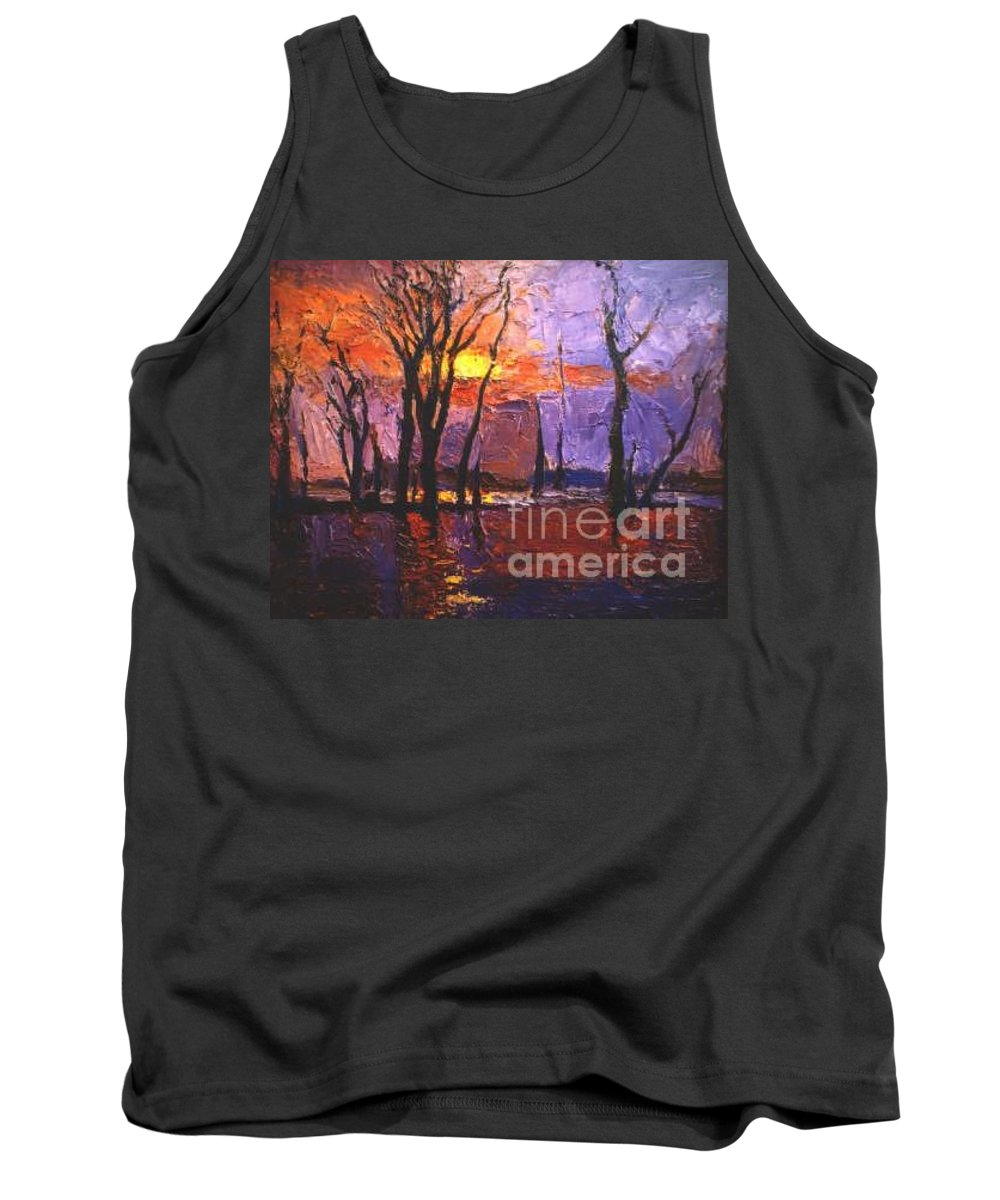 Dusk Tank Top featuring the painting Dusk by Meihua Lu