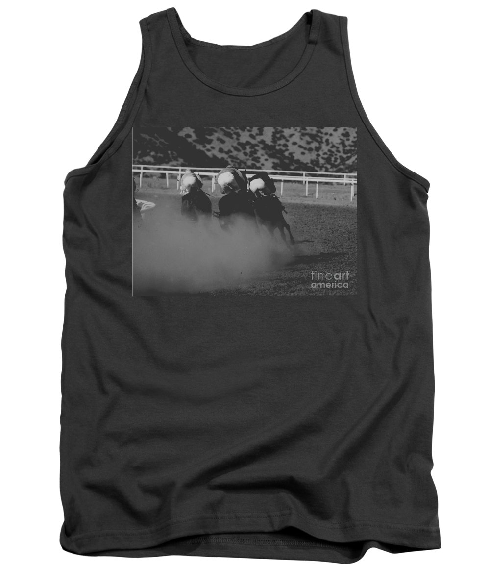 Horse Tank Top featuring the photograph Dust And Butts by Kathy McClure