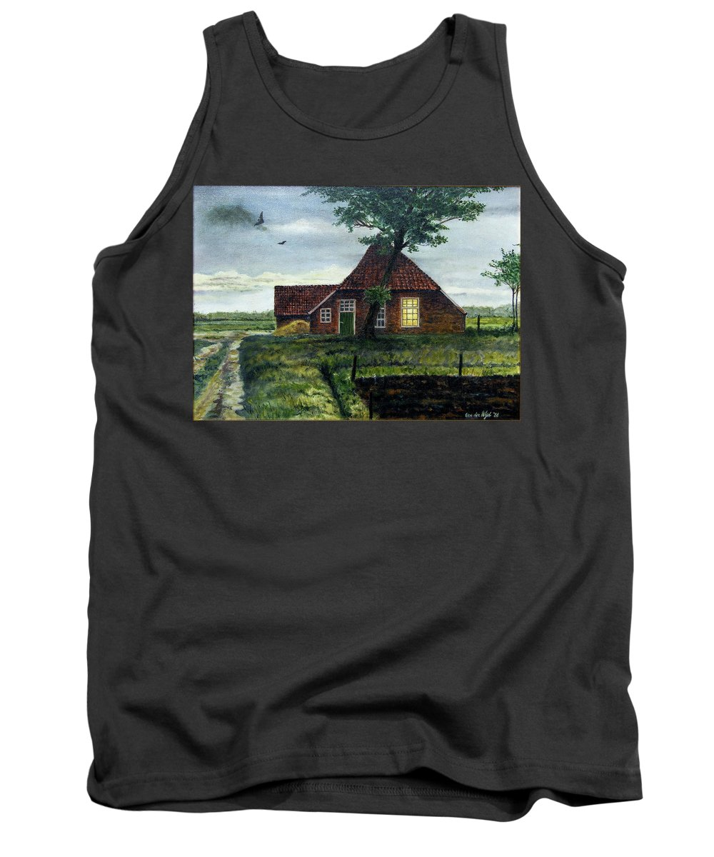 Farm Tank Top featuring the painting Dutch Farm At Dusk by Arie Van der Wijst