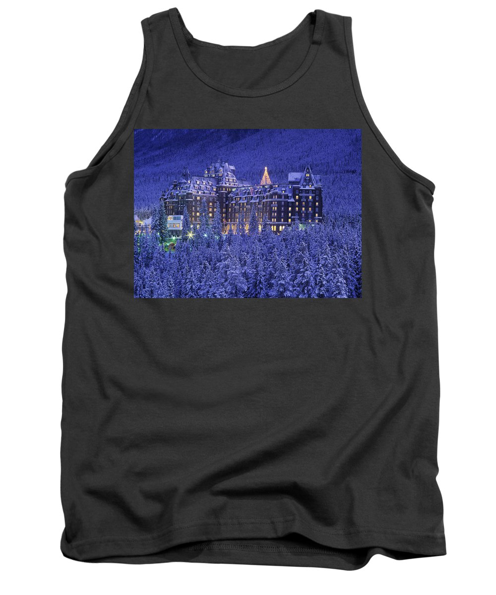 Banff Springs Hotel Tank Top featuring the photograph D.wiggett Banff Springs Hotel In Winter by First Light