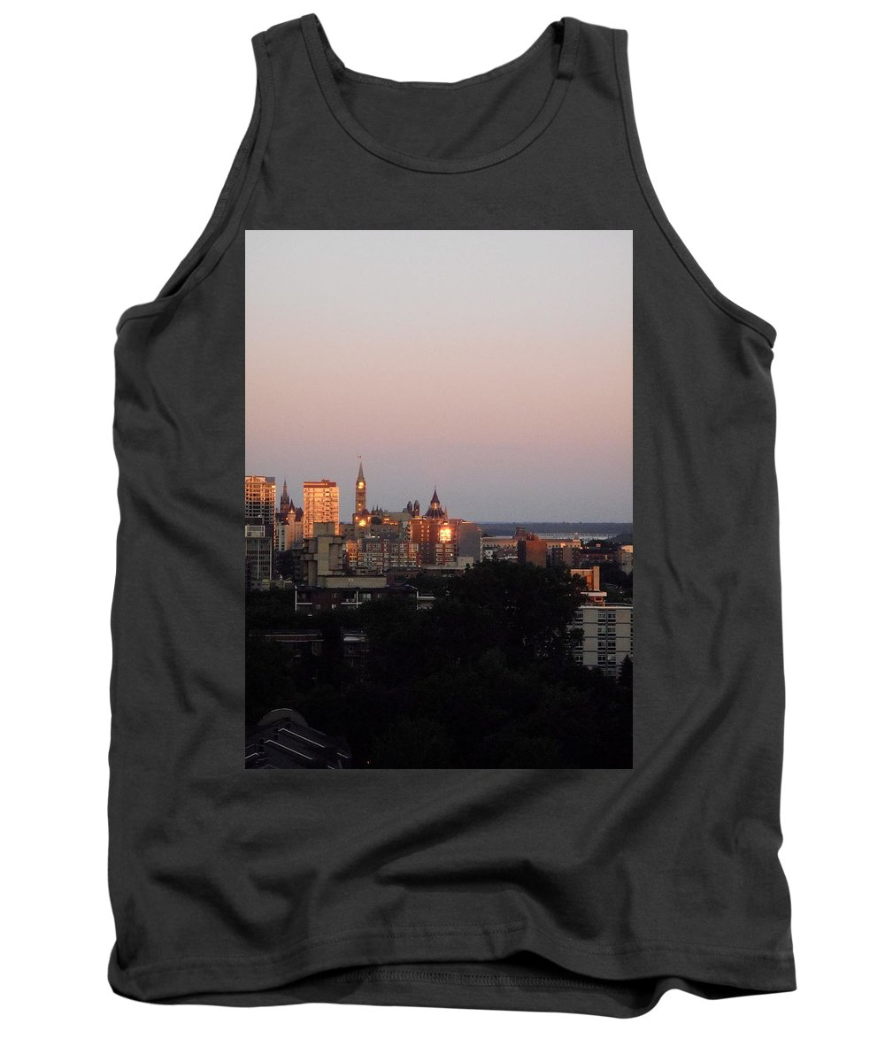Parliament Buildings Tank Top featuring the photograph Early Morning Canada Day by Stephanie Moore