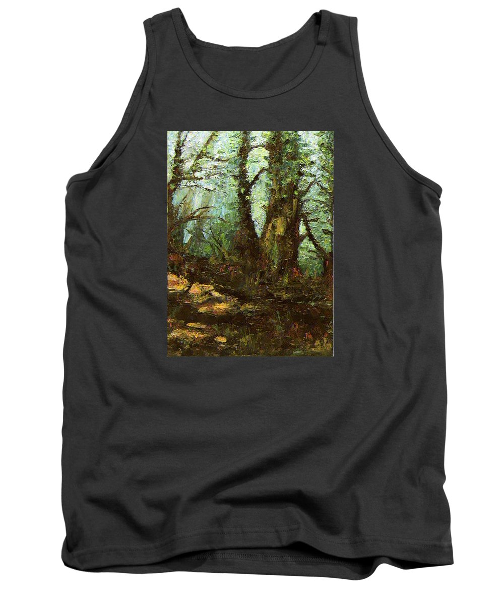 Landscape Tank Top featuring the painting Early Morning In The Forest by Ioulia Sotiriou