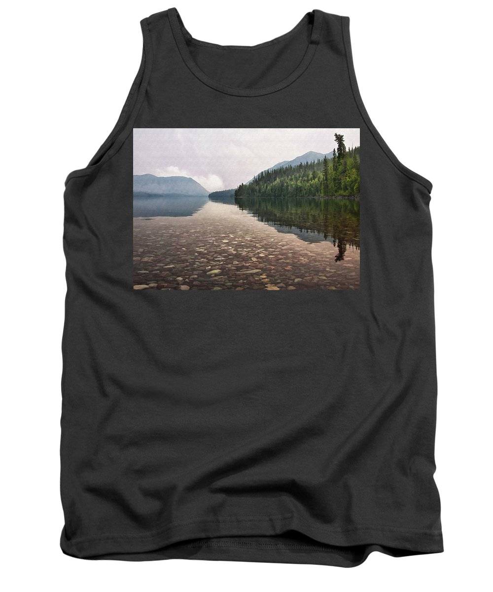 Landscape Tank Top featuring the digital art Early Morning On Lake Mcdonald II by Sharon Foster