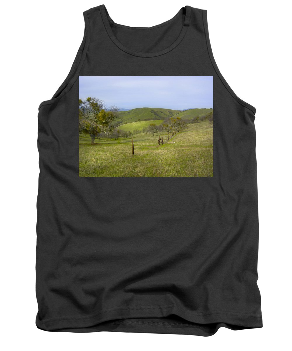 Landscape Tank Top featuring the photograph East Ridge Trail Barbed Wire by Karen W Meyer