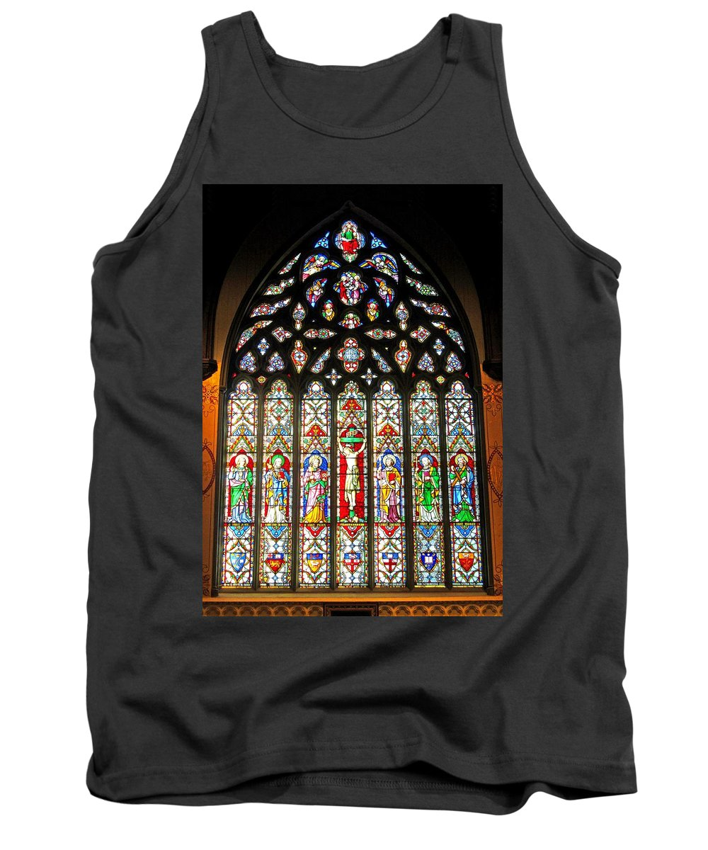 Christ Church Cathedral Fredericton Tank Top featuring the photograph East Stained Glass Window Christ Church Cathedral 1 by Mark Sellers