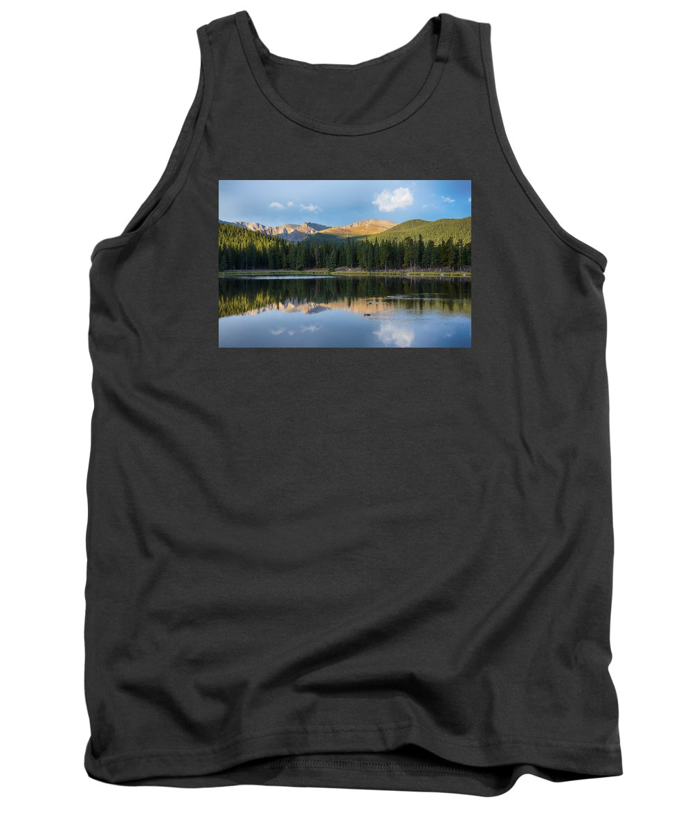 Mount Evans Tank Top featuring the mixed media Echo Lake 6 by Angelina Vick