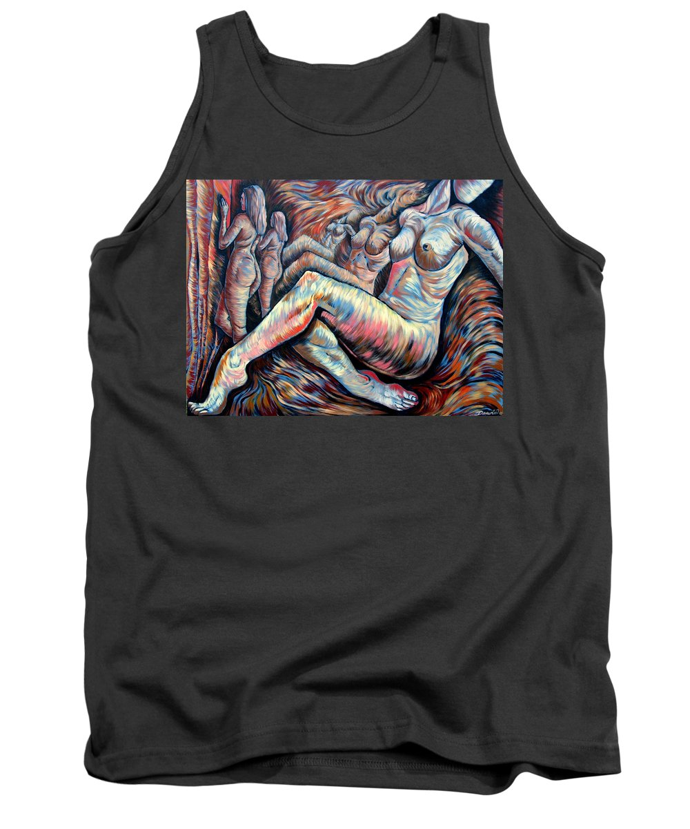 Surrealism Tank Top featuring the painting Echo Of A Nude Gesture II by Darwin Leon