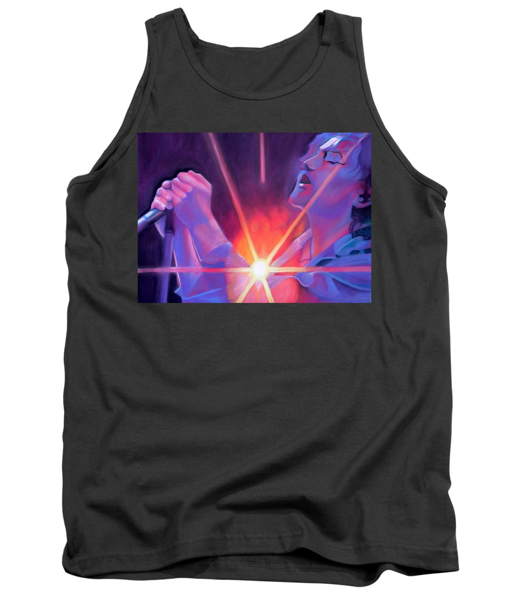 Eddie Vedder Tank Top featuring the drawing Eddie Vedder And Lights by Joshua Morton