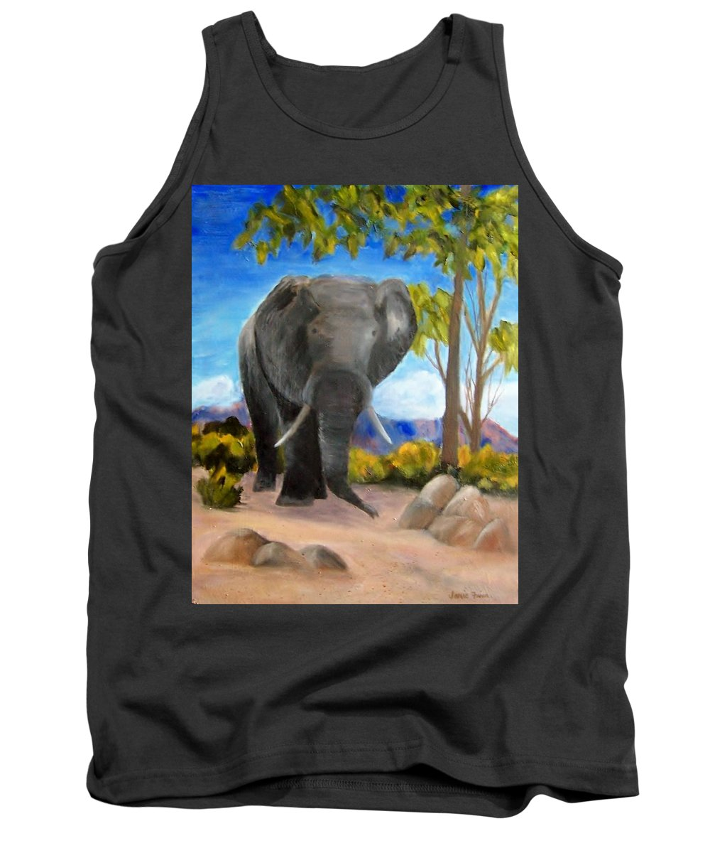 Elephant Tank Top featuring the painting Eddy Elephant by Jamie Frier