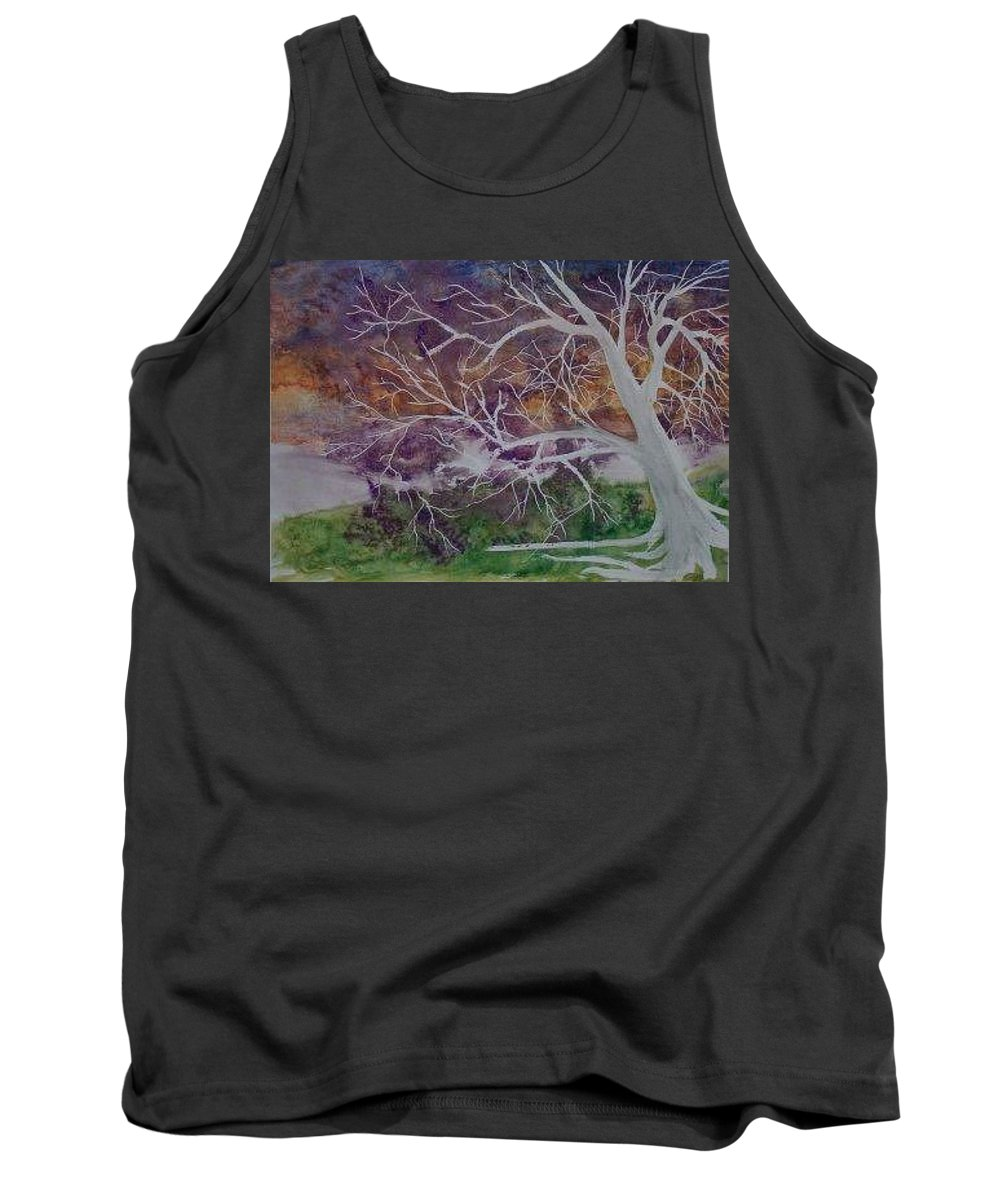 Watercolor Tank Top featuring the painting Eerie Gothic Landscape Fine Art Surreal Print by Derek Mccrea