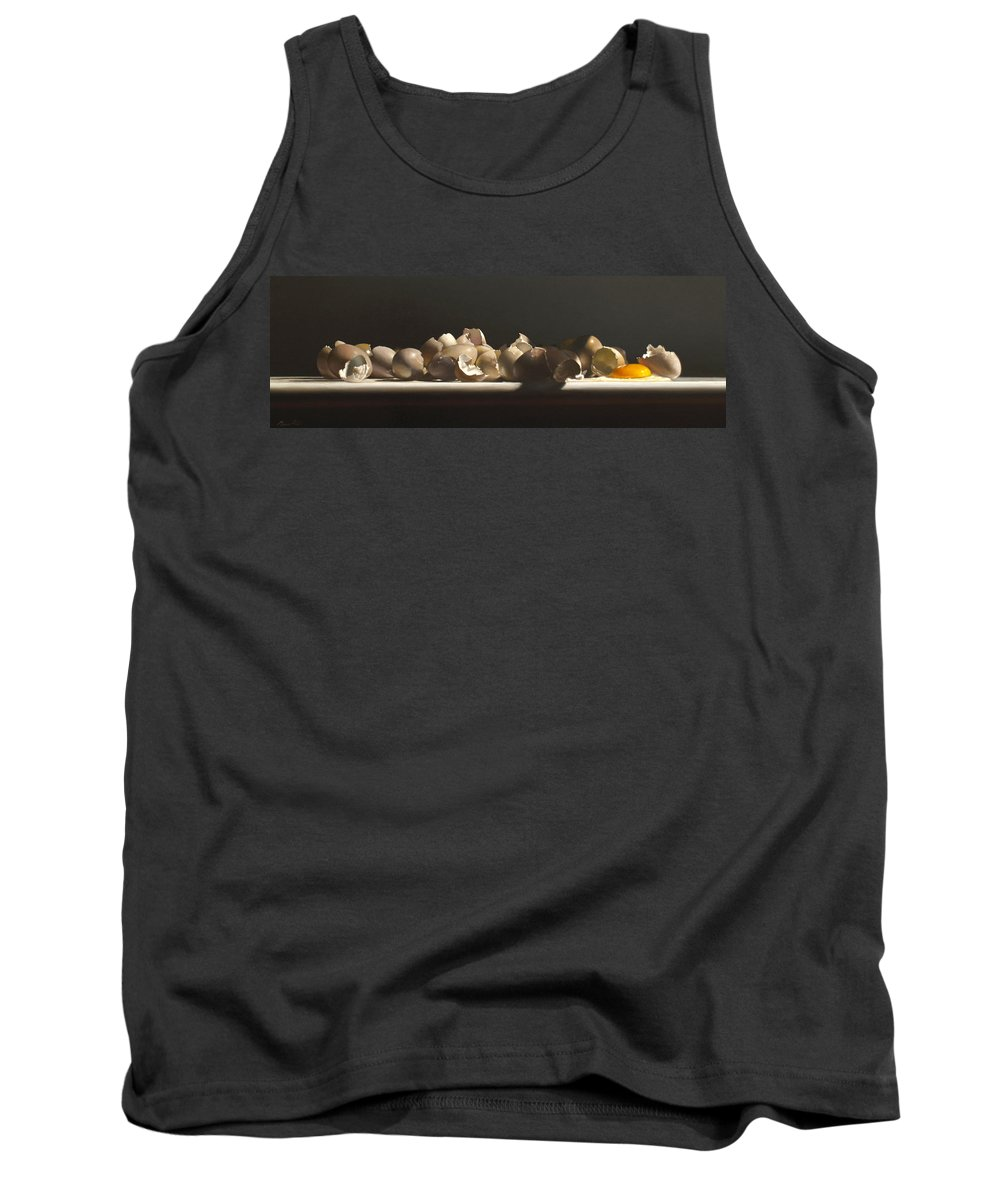 Still Life Tank Top featuring the painting Egg With Shells No.3 by Lawrence Preston