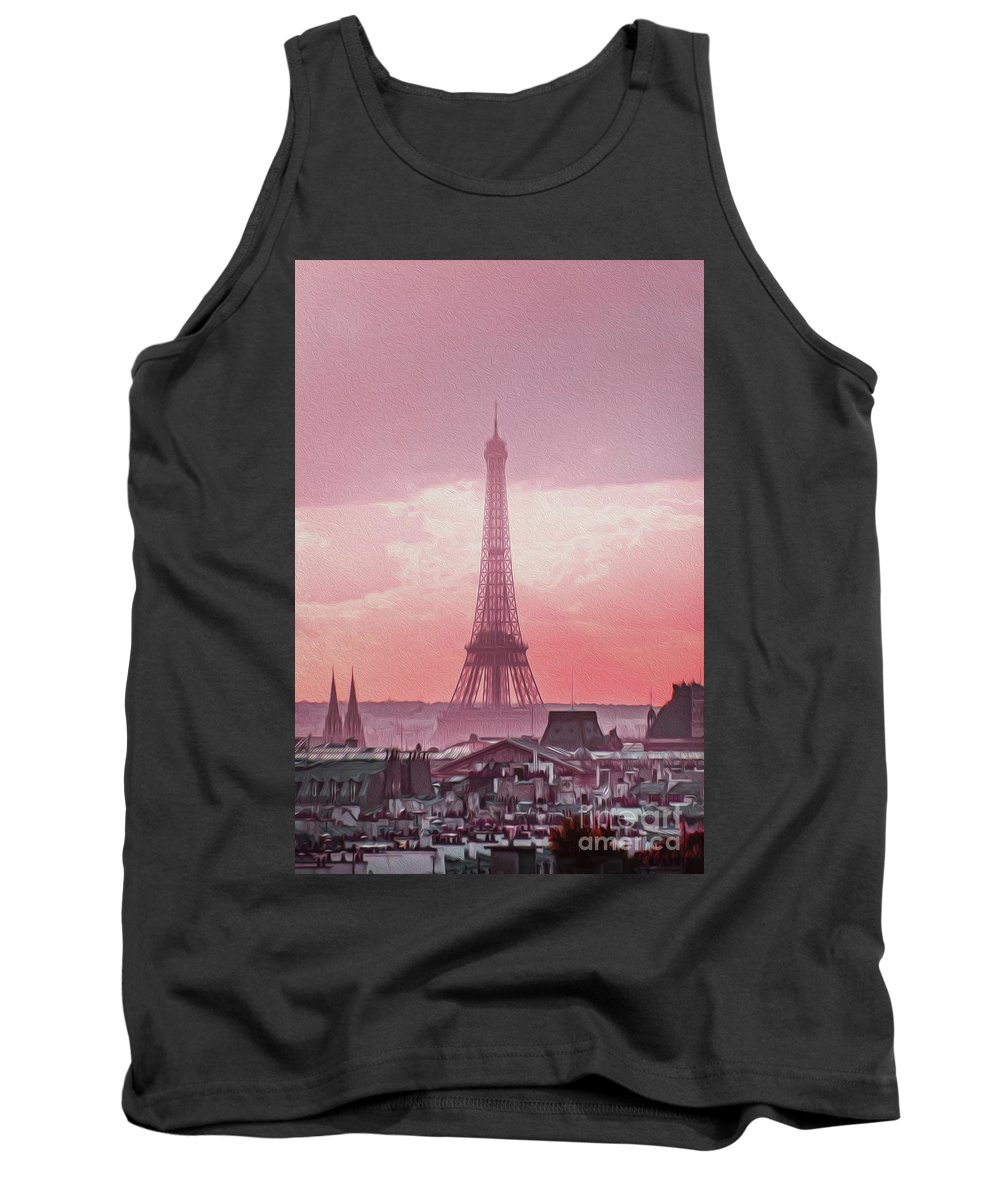 Paris Tank Top featuring the photograph Eiffel Tower Sunset Art by Alex Art and Photo