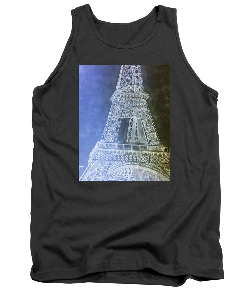 Inverted Drama Paris Eiffil Tower Abstract Europe Wonders Of The World Tank Top featuring the drawing Eiffil Tower Inverted by Irving Starr