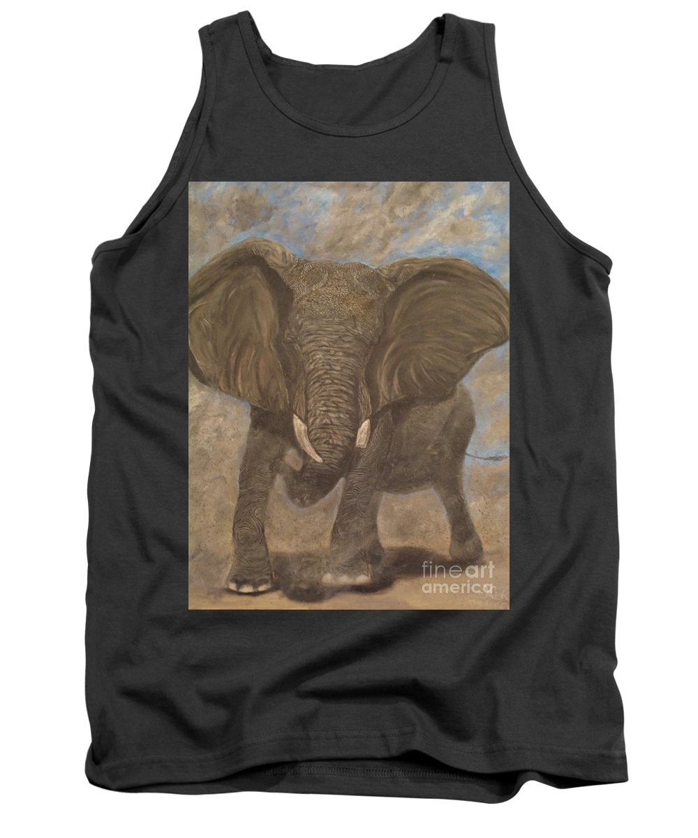 Elephant Tank Top featuring the painting Elephant Charging by Nick Gustafson