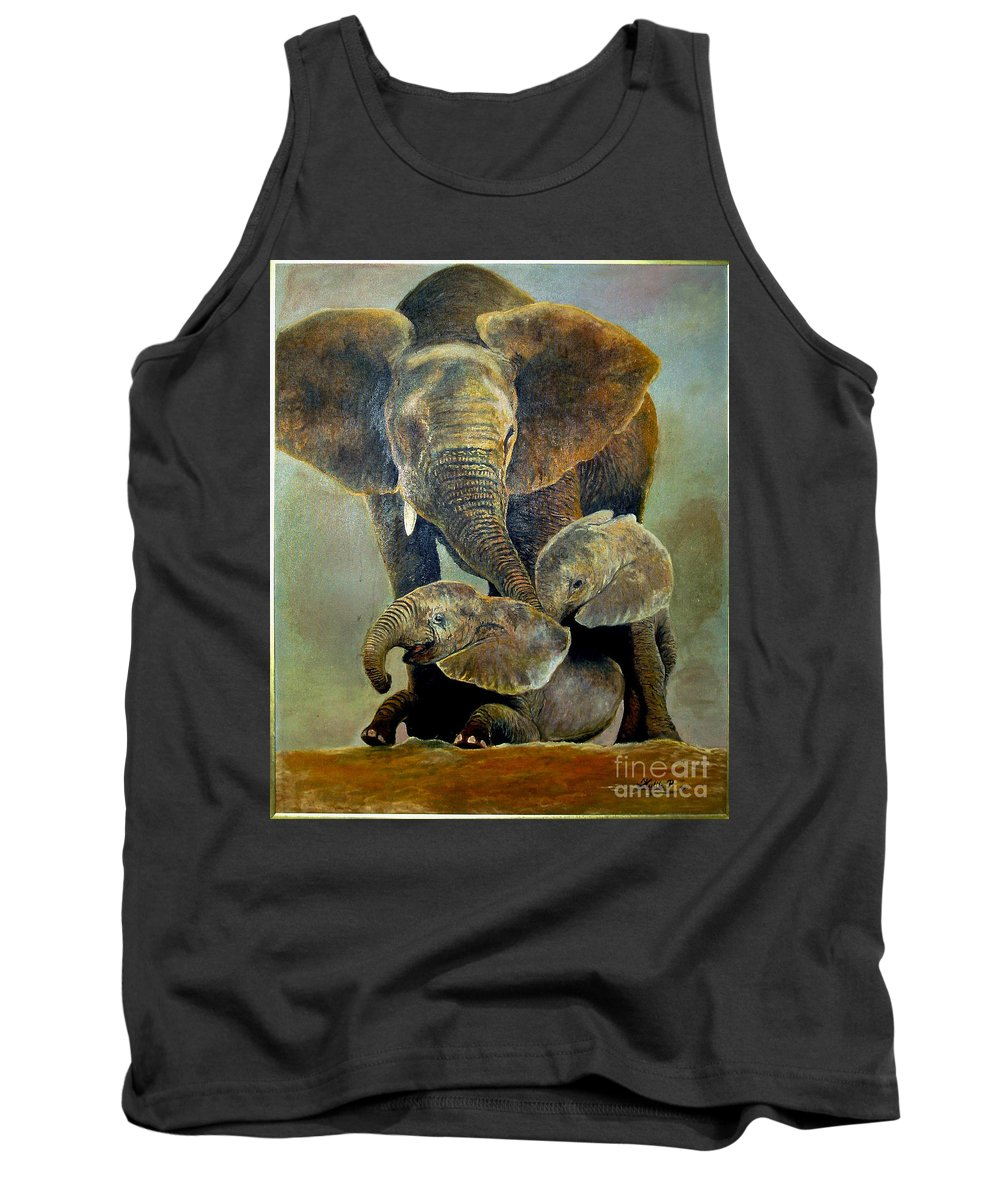 Africa Tank Top featuring the painting Elephant Familly by Peter Kulik