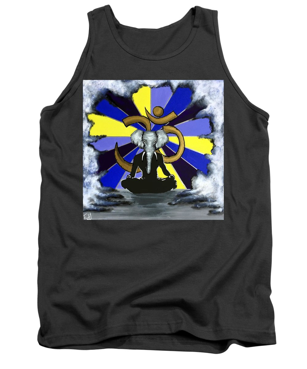 Om Namaste Tank Top featuring the painting Elephant Man by Edit Sullivan