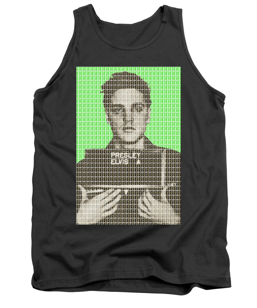 Elvis Tank Top featuring the painting Elvis Army Mug Shot - Green by Gary Hogben