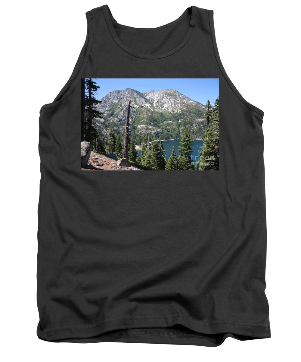 Landscape Tank Top featuring the photograph Emerald Bay With Mountain by Carol Groenen