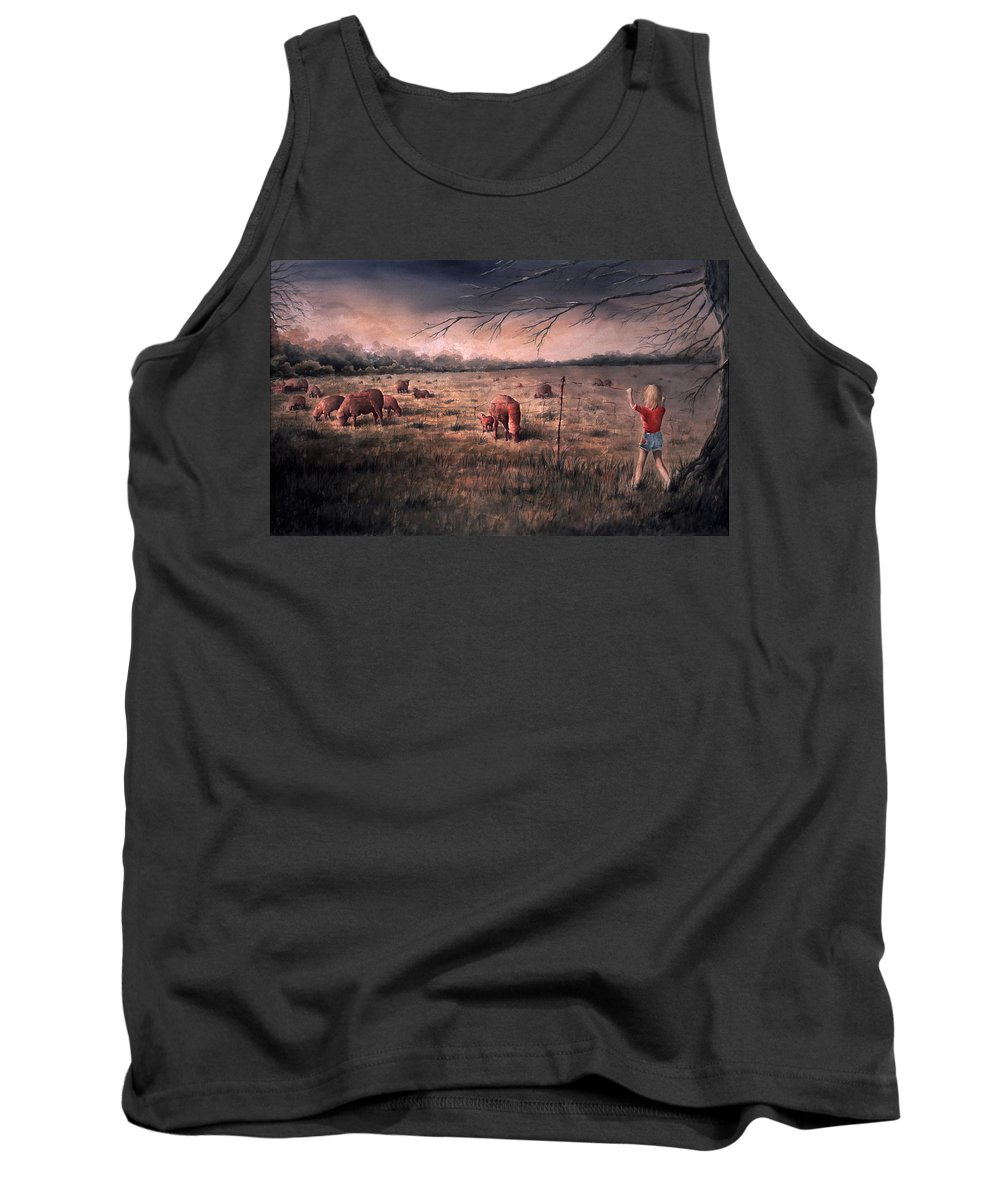Landscape Tank Top featuring the painting A Childhood by Rachel Christine Nowicki