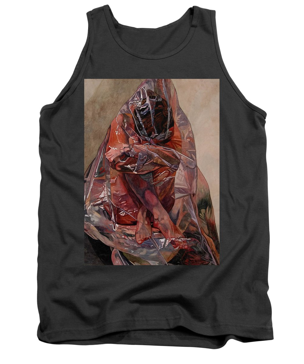 Nude Tank Top featuring the painting Encompassed by Valerie Patterson