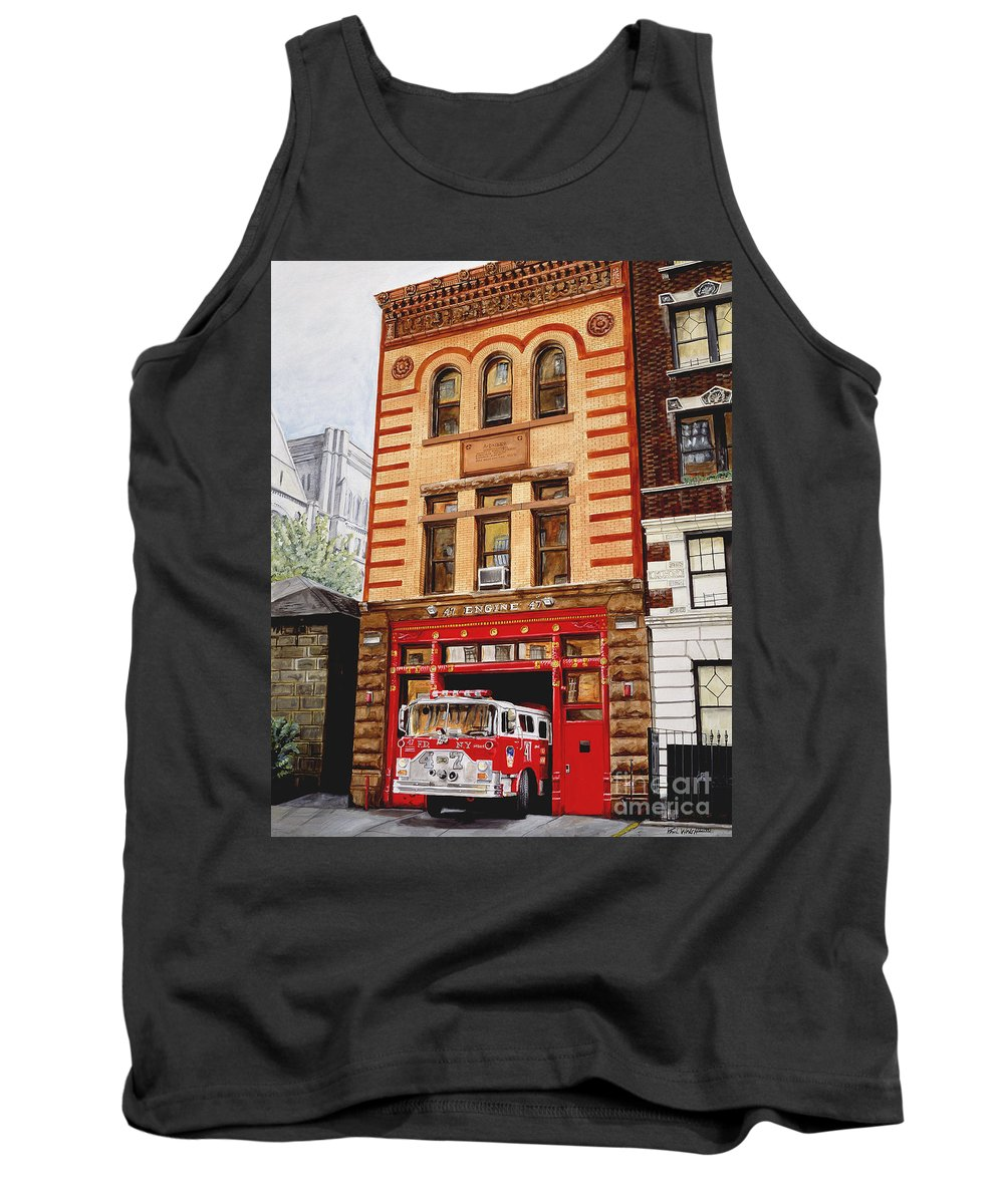 Firehouse Tank Top featuring the painting Engine Company 47 by Paul Walsh