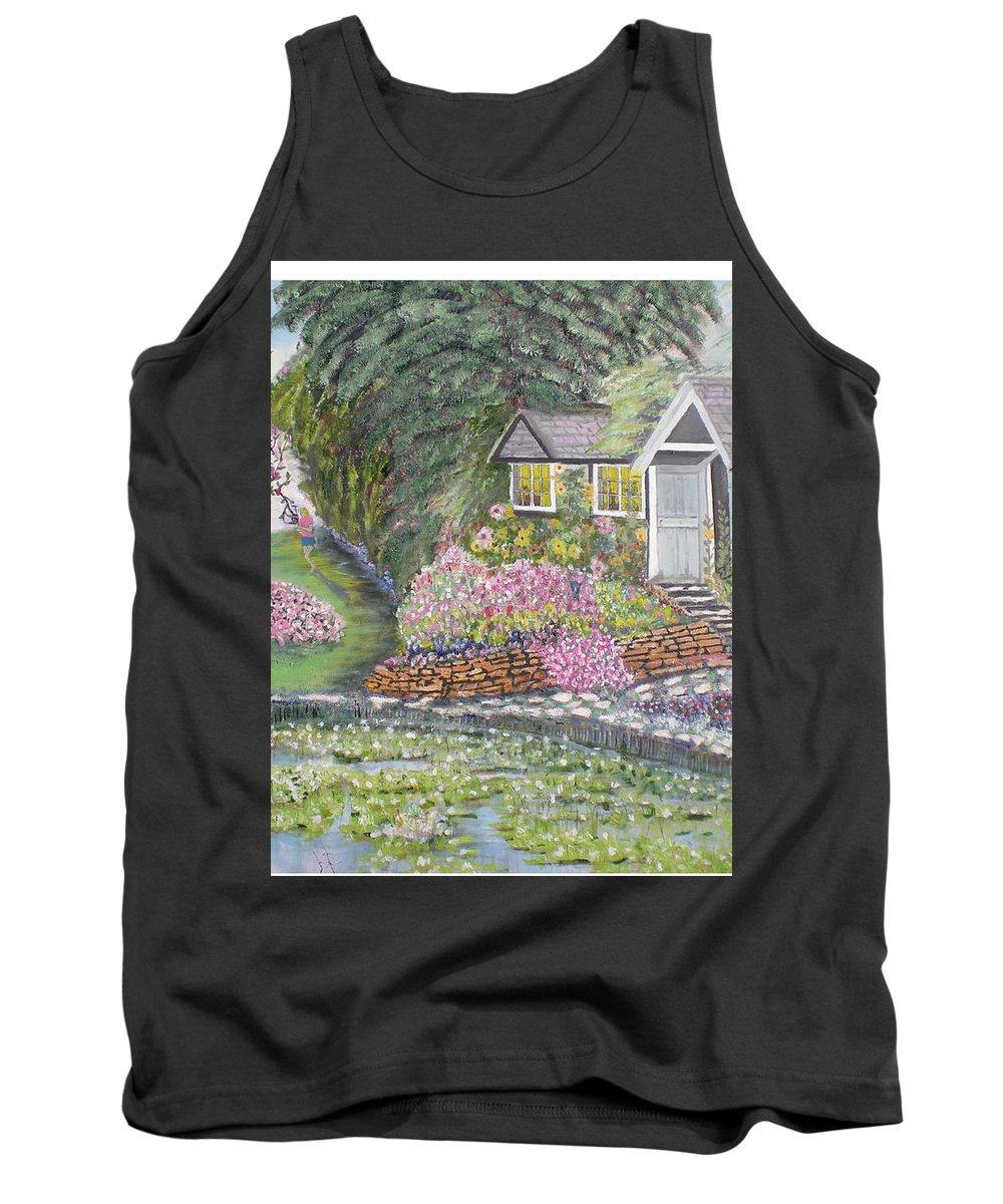 Cottage Tank Top featuring the painting English Cottage by Hal Newhouser