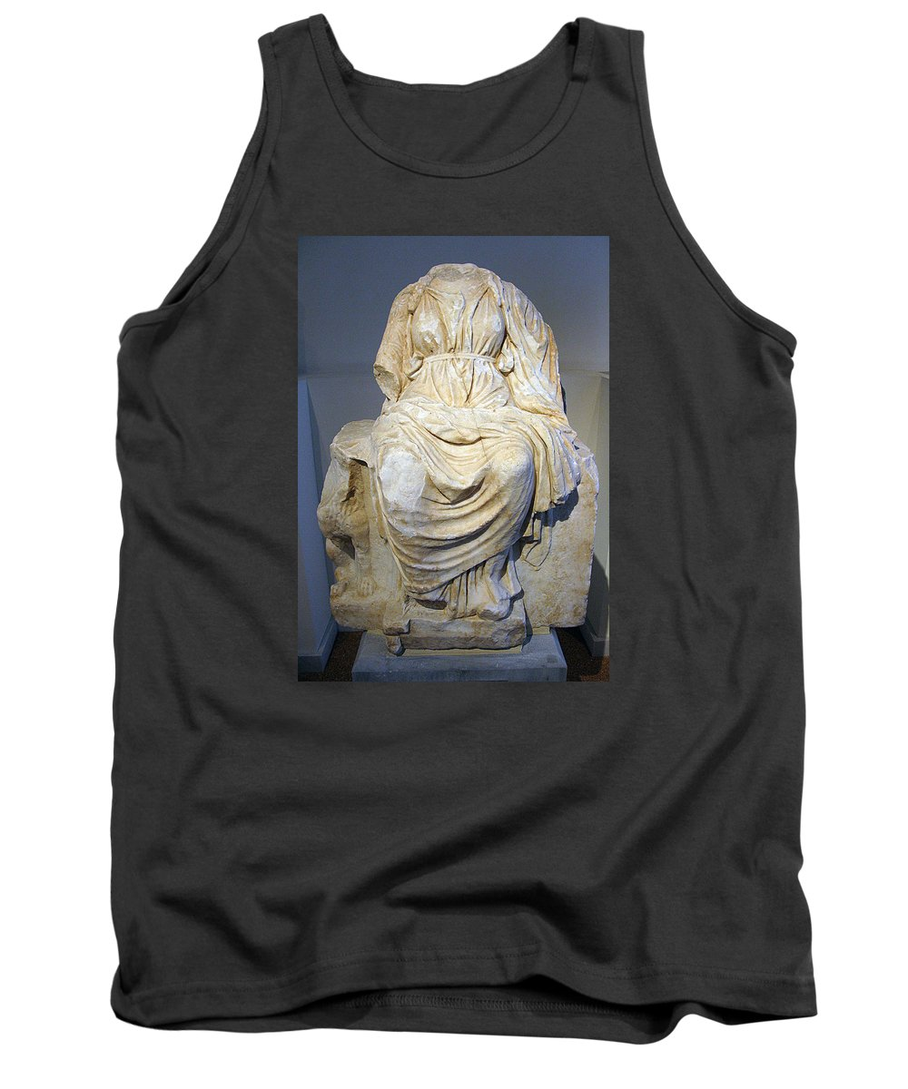 Cybele Statue Tank Top featuring the photograph Enthroned Cybele by Andonis Katanos