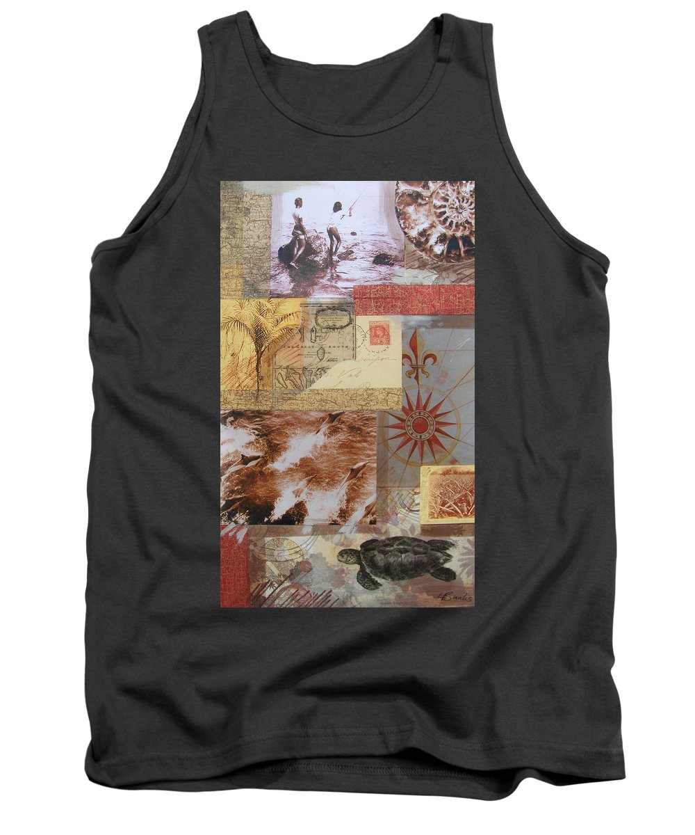 Travel Tank Top featuring the mixed media Escape And Explore IIi by Leigh Banks