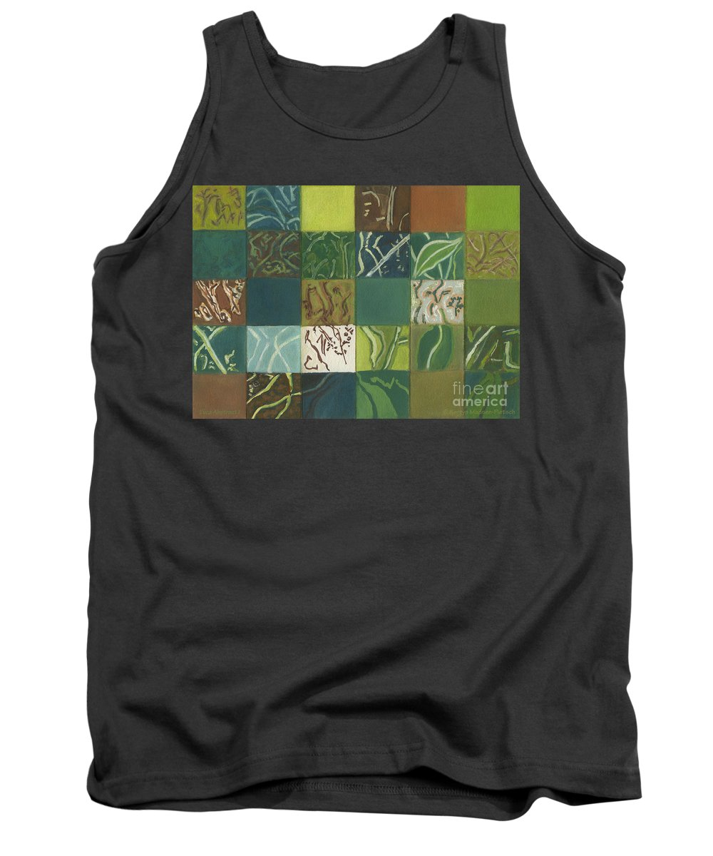 Eucalyptus Tank Top featuring the painting Euca Abstract I by Kerryn Madsen-Pietsch