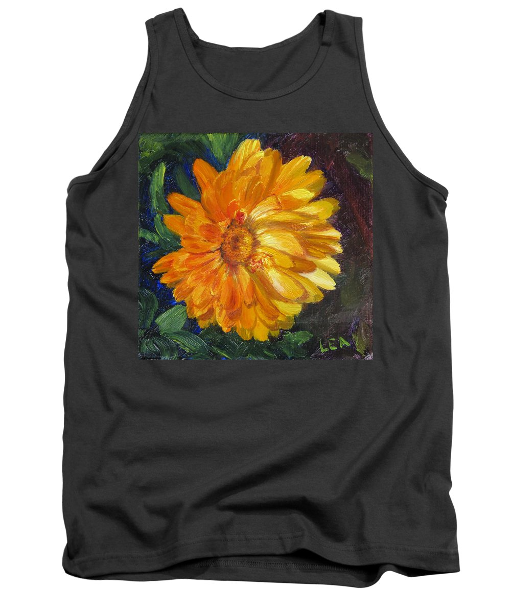 Flower Painting Tank Top featuring the painting Even The Flowers In Autumn Are Golden by Lea Novak