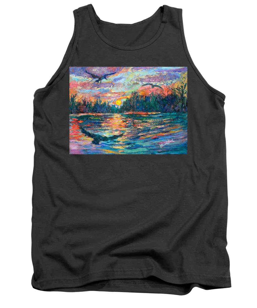 Landscape Tank Top featuring the painting Evening Flight by Kendall Kessler