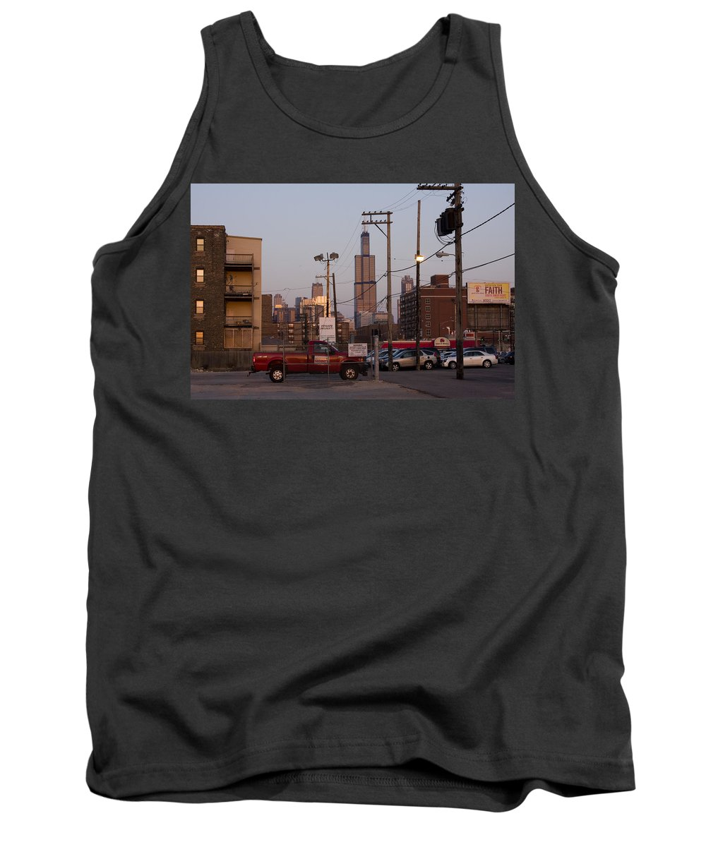 Chicago Car Windy City Tower Urban Tall High Building Skyscraper Tank Top featuring the photograph Evening In Chicago by Andrei Shliakhau