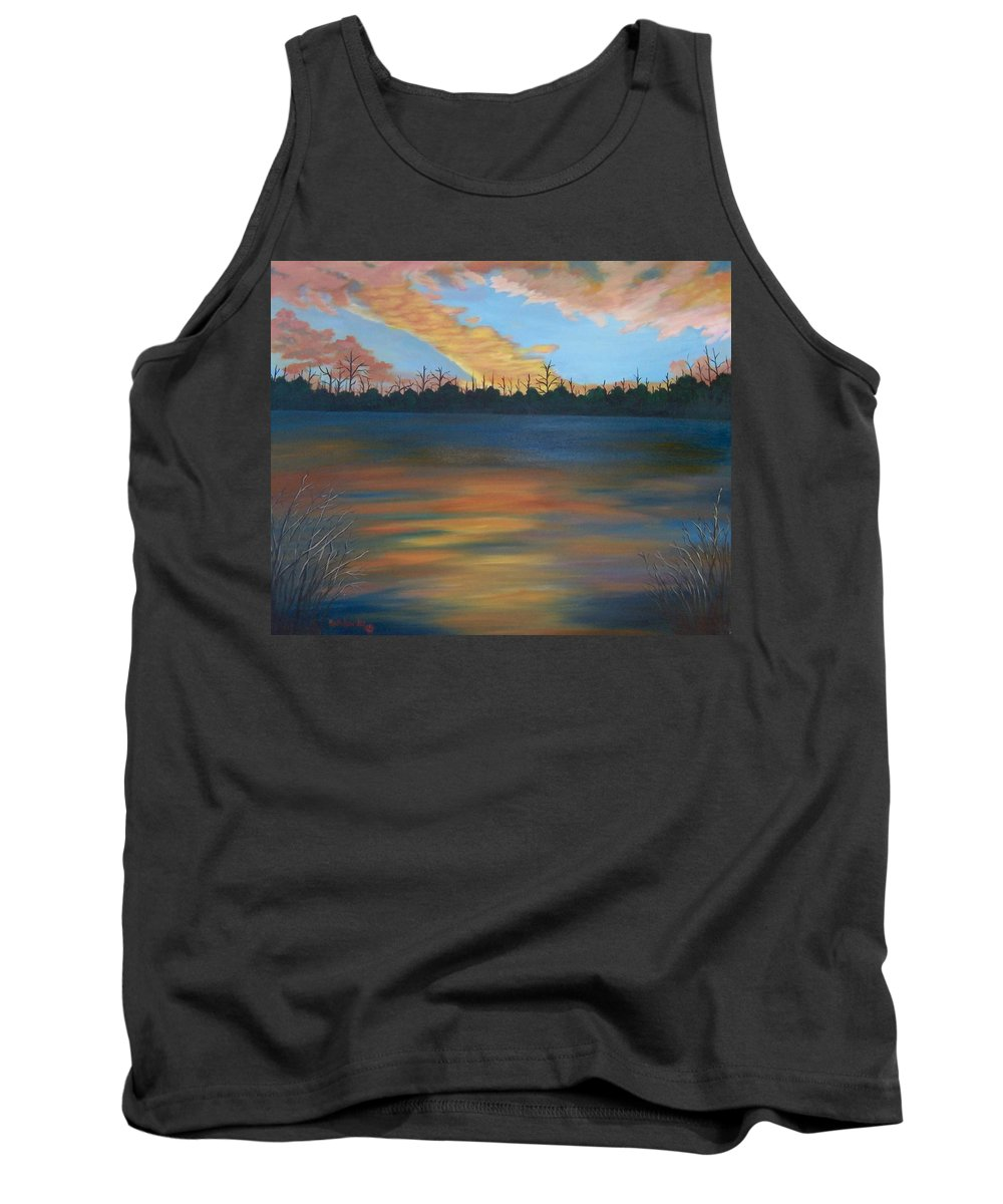 Landscape Tank Top featuring the painting Evening Peace by Ruth Housley