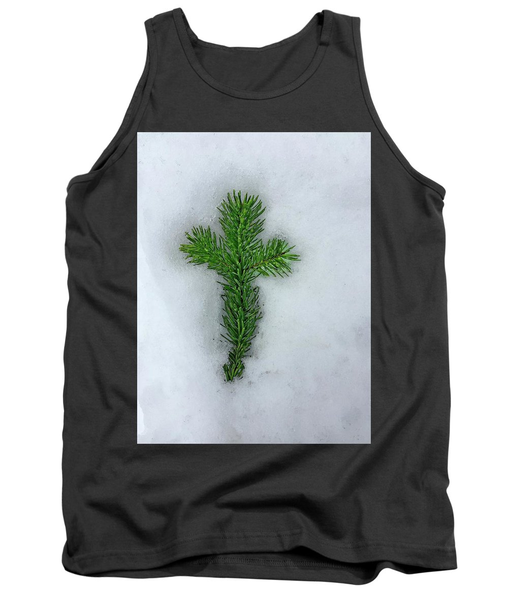 Beauty In Nature Tank Top featuring the photograph Evergreen Snow Cross by David Wilson